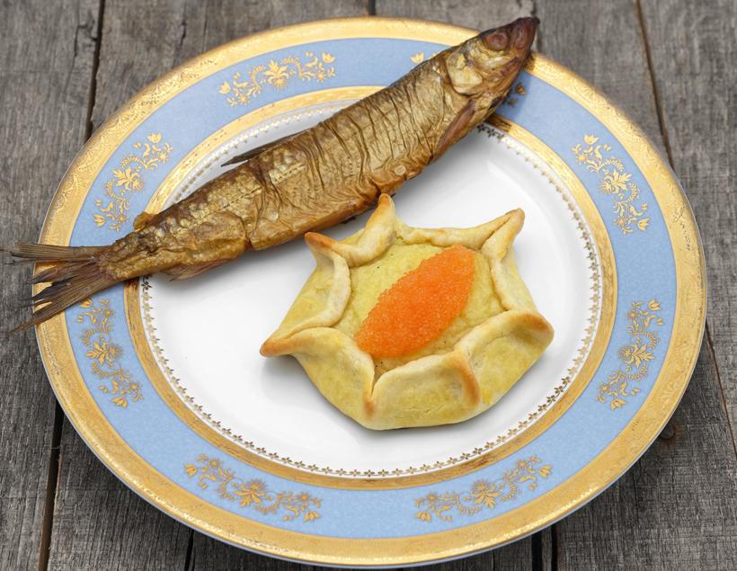 Russian Cuisine - Potato Kalitka, Vendace Roe and Smoked Vendace