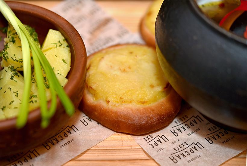 Murmansk - Tsarskaya Okhota Restaurant - Boiled Potatoes and Shangas