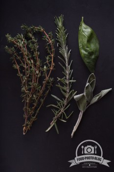 Branch of thyme, rosemary, sage and leaf of basil on black background