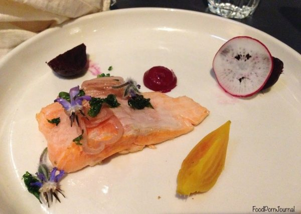 Small plate - Goulburn River trout, pumpernickel, beetroots, radishes and pickles
