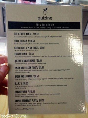 Quizine Cafe menu