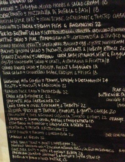 Cafe Sopra Sydney menu