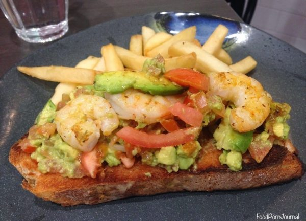 Grilled prawns with avocado and tomato salsa tartine ($8.90)