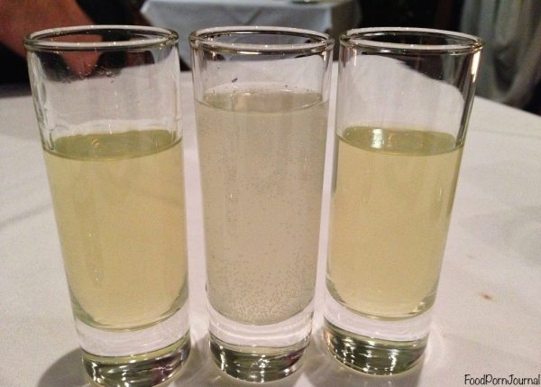 Limoncello shots, and mock shot (middle)