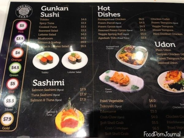 Hero Sushi Train Canberra menu 1