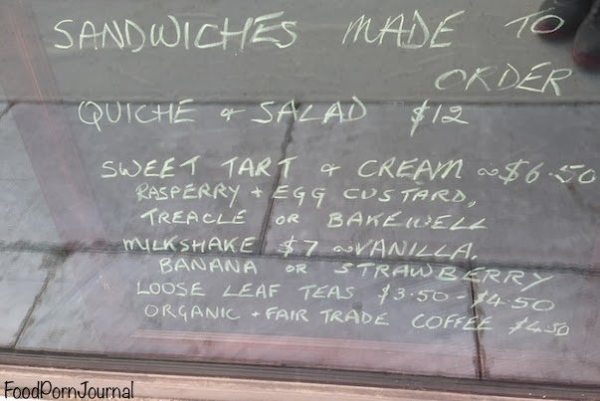 Mrs Sackville Kingston sandwich menu