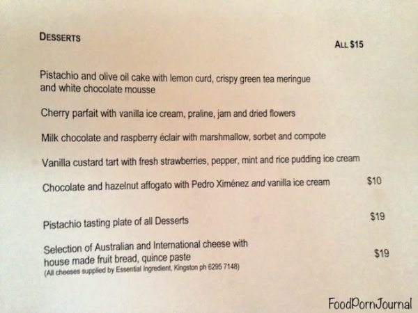 Pistachio Dining menu