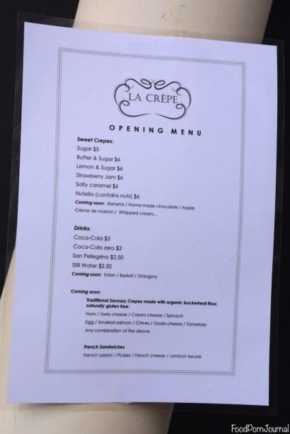 Westside Acton La Crepe menu