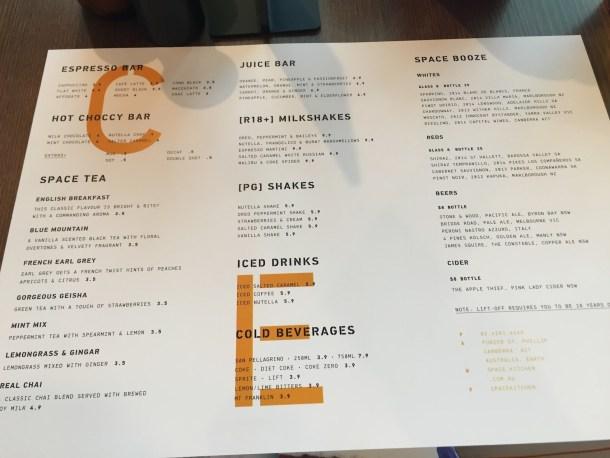 Space drinks menu
