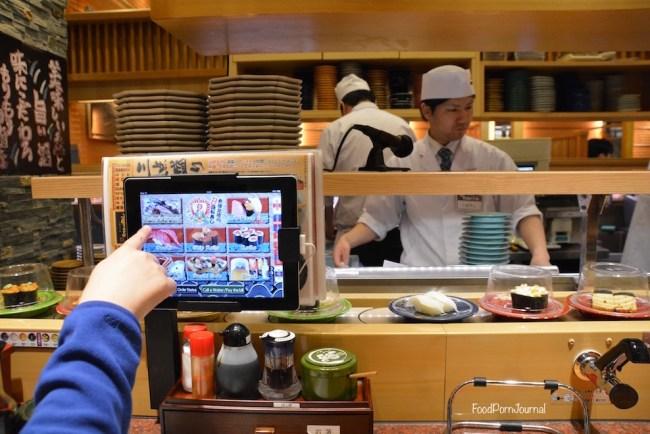 Japan Kanazawa sushi train screen