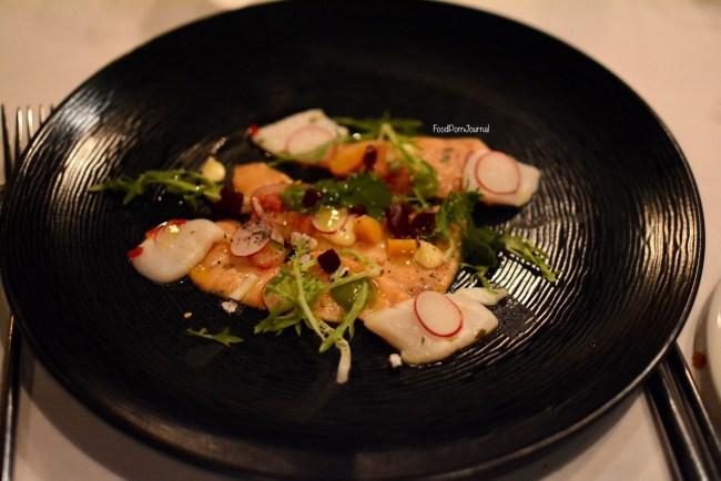 Courgette salmon and scallop ceviche