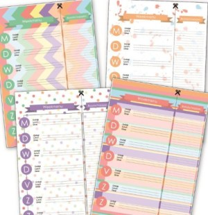 weekmenu printables