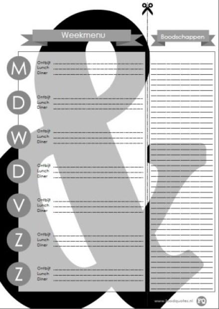 weekmenu planner