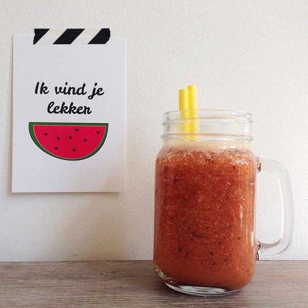 Perzik-watermeloen smoothie