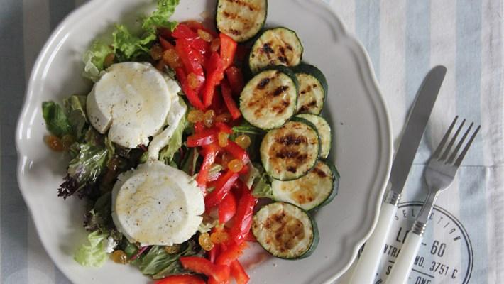 salade geitenkaas en courgette