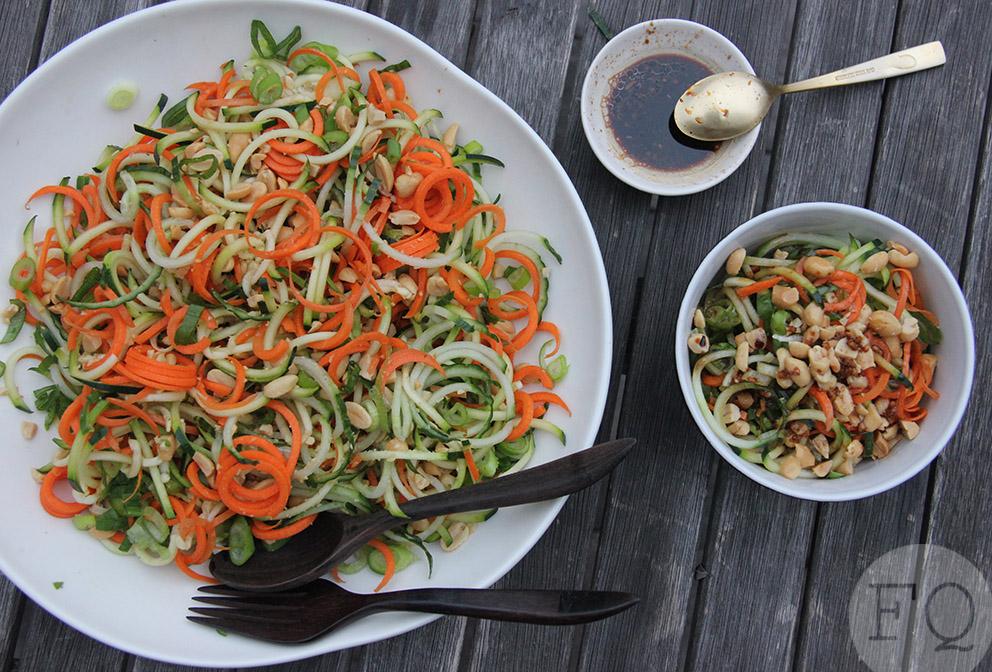 Spirelli salade met sojadressing