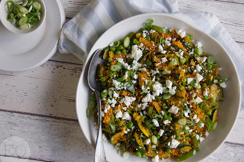 Couscous met groene groenten en feta