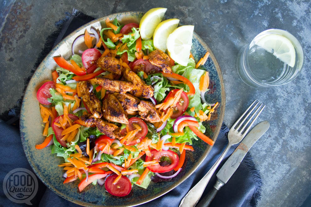 Marokkaanse kip salade