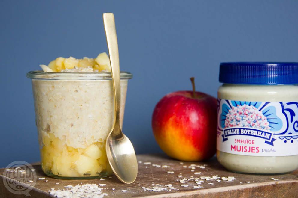 Overnight oats met smeuïge muisjes en appelcompote