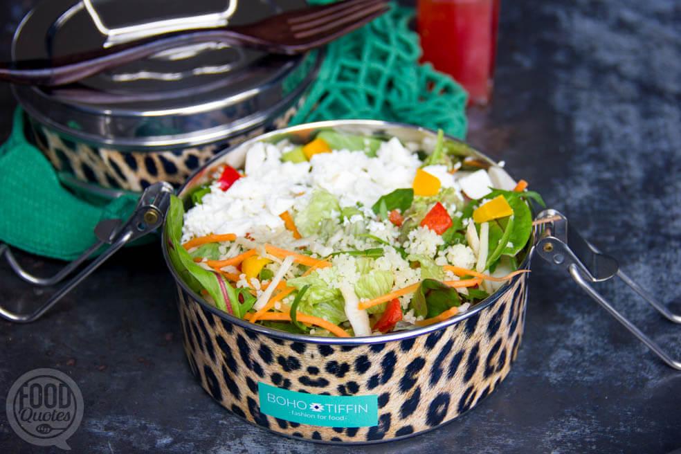 Salade met couscous, feta en rauwkost