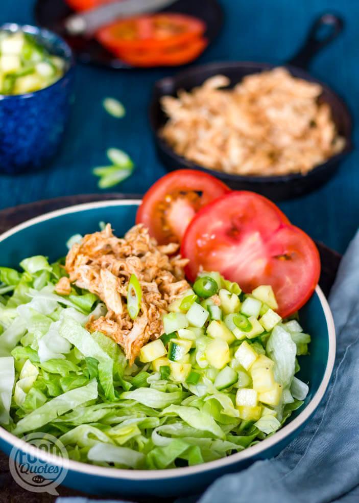 Salade pulled chicken-ananassalsa