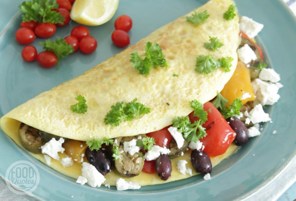 Mediterraanse omelet met gegrilde groenten