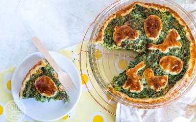 Spinazie-aspergetaart met zalm