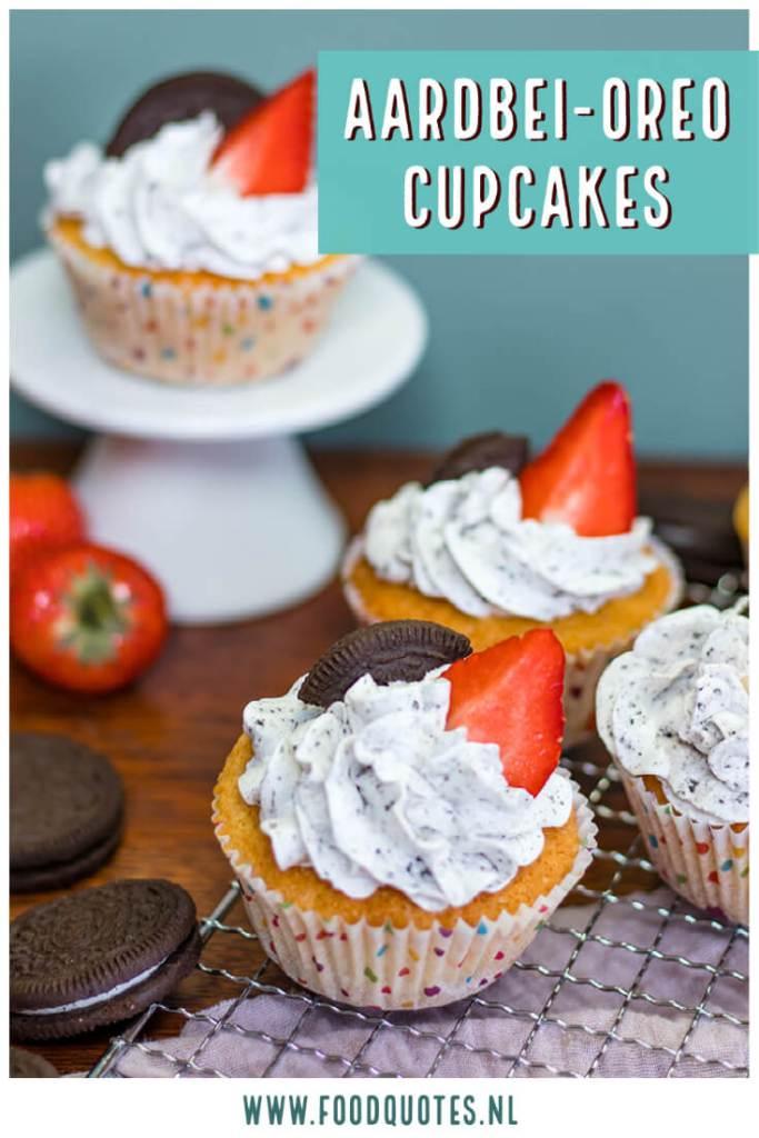 Cupcakes met oreo en aardbei