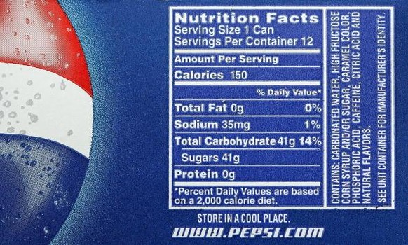 Nutritional Content of Pepsi