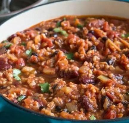 Vegan chilli with peanut butter cabbage – Recipe 10