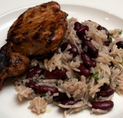 Jerk pork chops with rice and peas – Recipe 1