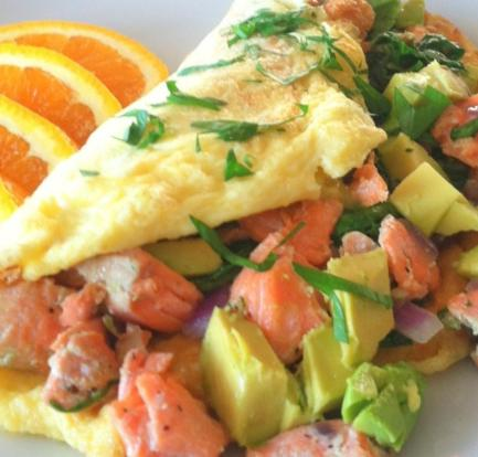 Herby smoked salmon omelette food recipes