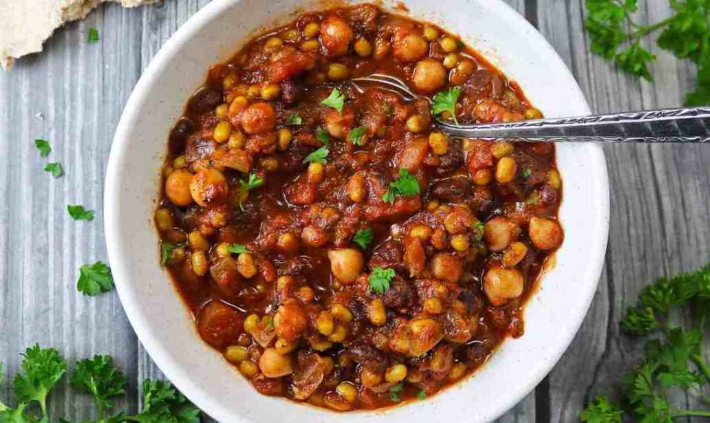 Three Bean Stew with Cocoa food recipes