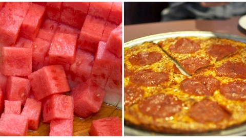 No, the watermelon doesn't go on top of the pizza; the watermelon IS the pizza.