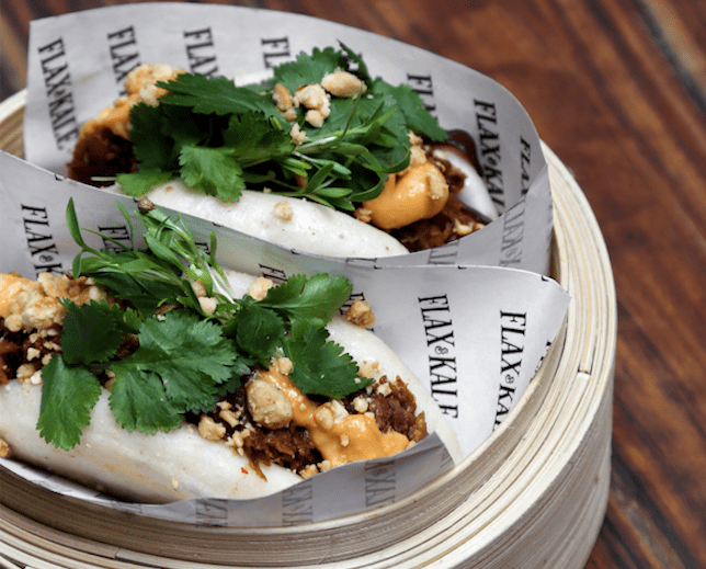 BBQ 'Pulled Pork' Bao with braised jackfruit, vegan mayo and chilli jam