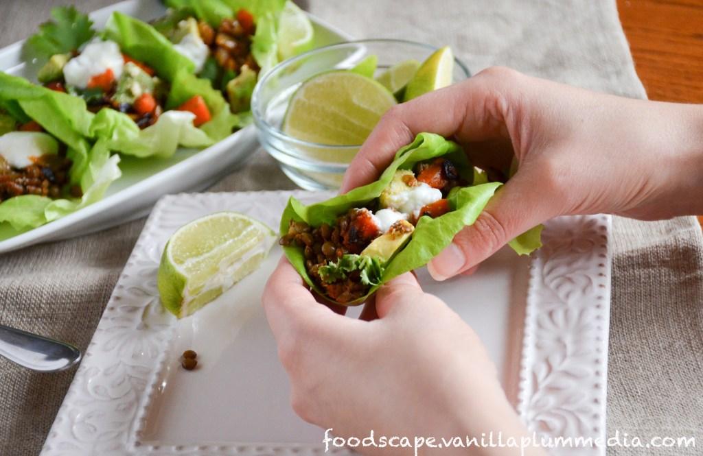 lentil taco lettuce wrap