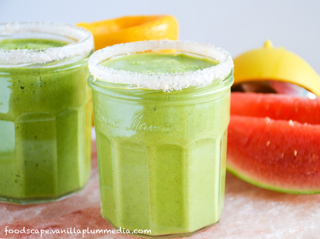 Green Monster Margarita Smoothie  -  A watermelon smoothie that tastes like a margarita.