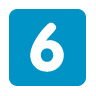 Number 6 in blue square