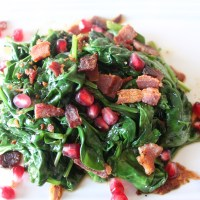 Sweet and Savory Side Dish: Spinach with Bacon and Pomegranate