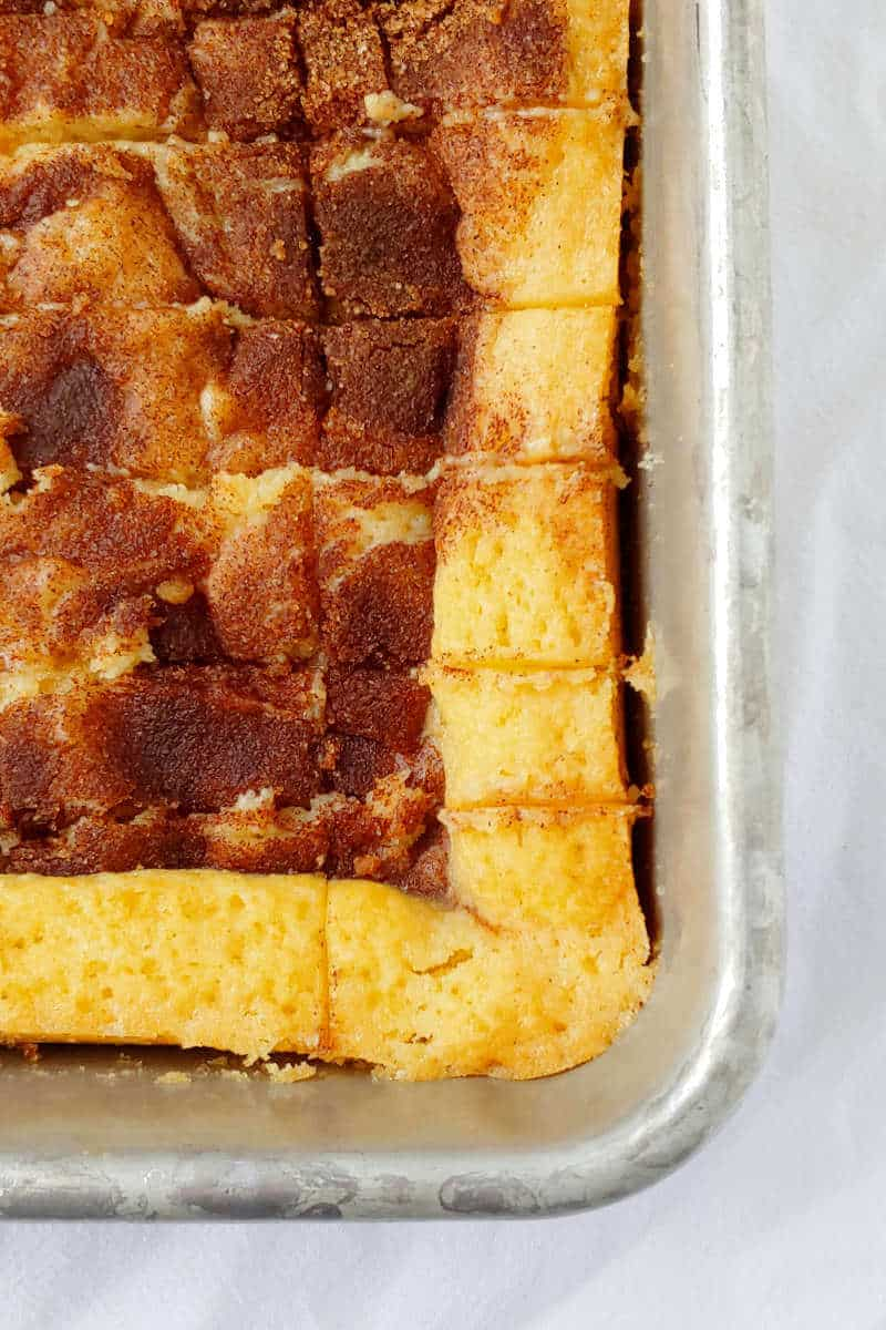cinnamon gooey butter cake, baked and cut in the pan