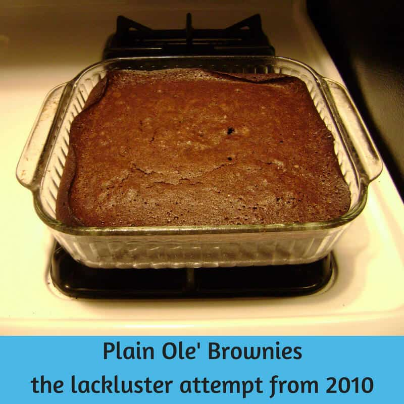 Alton Brown's Plain Ole' Brownies, from 2010, with edges curling up from a glass pan