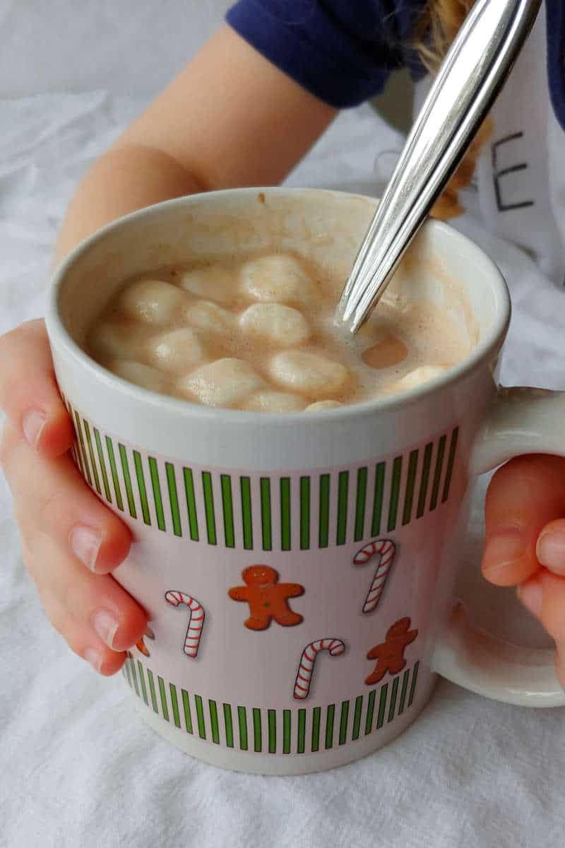 a mug of hot cocoa mix made with alton brown's hot cocoa mix recipe, topped with marshmallows