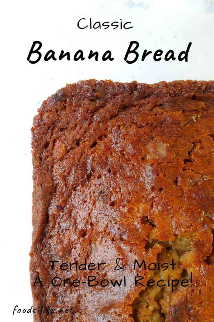 a loaf of banana bread with text for Pinterest
