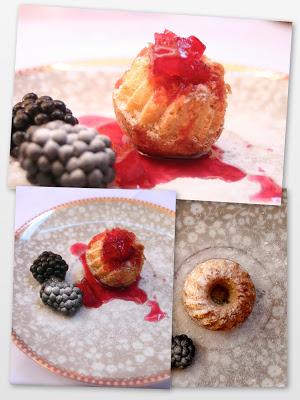 Vanille-Gugelhupf mit Apfel-Brombeer-Gelee mit Vanille
