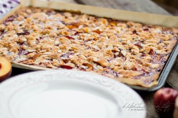 Pfirsich Pflaumen und Honig Streusel Kuchen