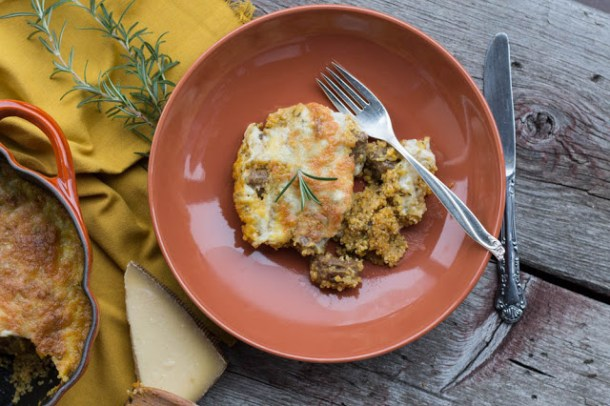 Quinoa-Kürbis-Käse Auflauf mit Merguez