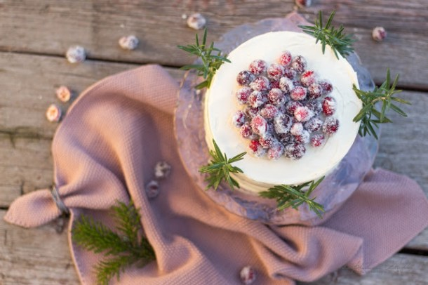 Winterlicher Cranberry White Chocolate Buttercream Cake