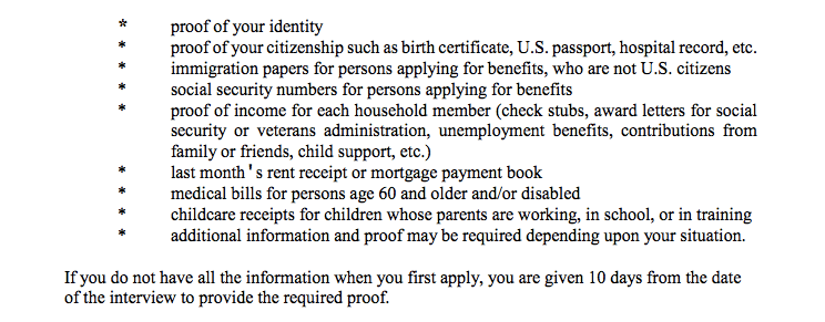 """""""Georgia food stamps application interview documents"""""""