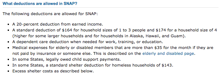 """Food Stamps Income limit 2018 - Deductions"""
