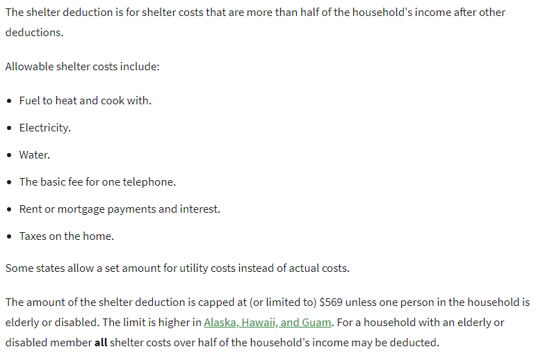 Excess Shelter Deduction for SNAP